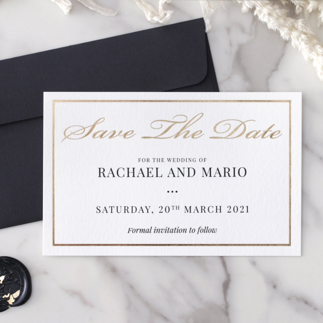 Save the Date in Gold and Black - Wedding Invitations - WP-CR14-SD-KI-G - 184361