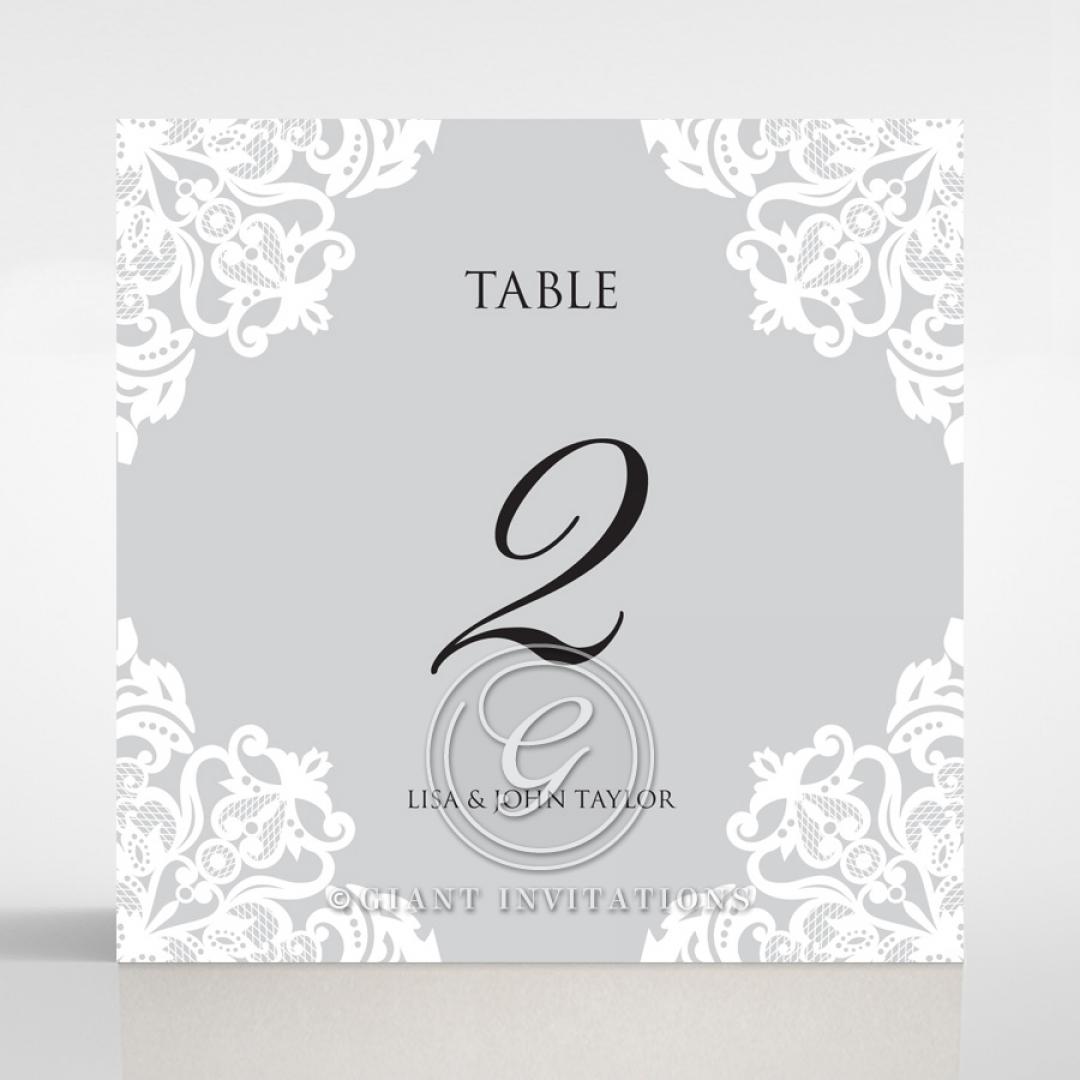 Black Divine Damask table number card stationery