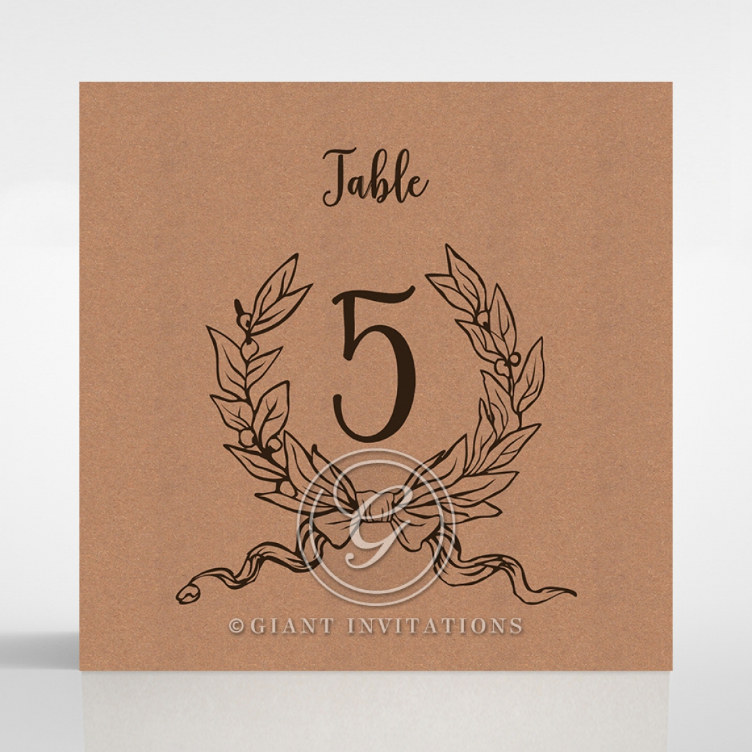 Chic Country Passion wedding reception table number card stationery