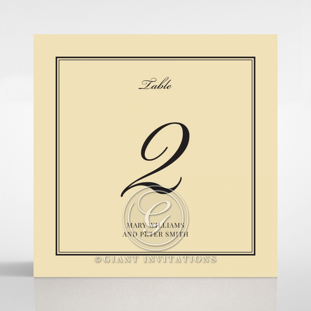 Damask Love wedding reception table number card