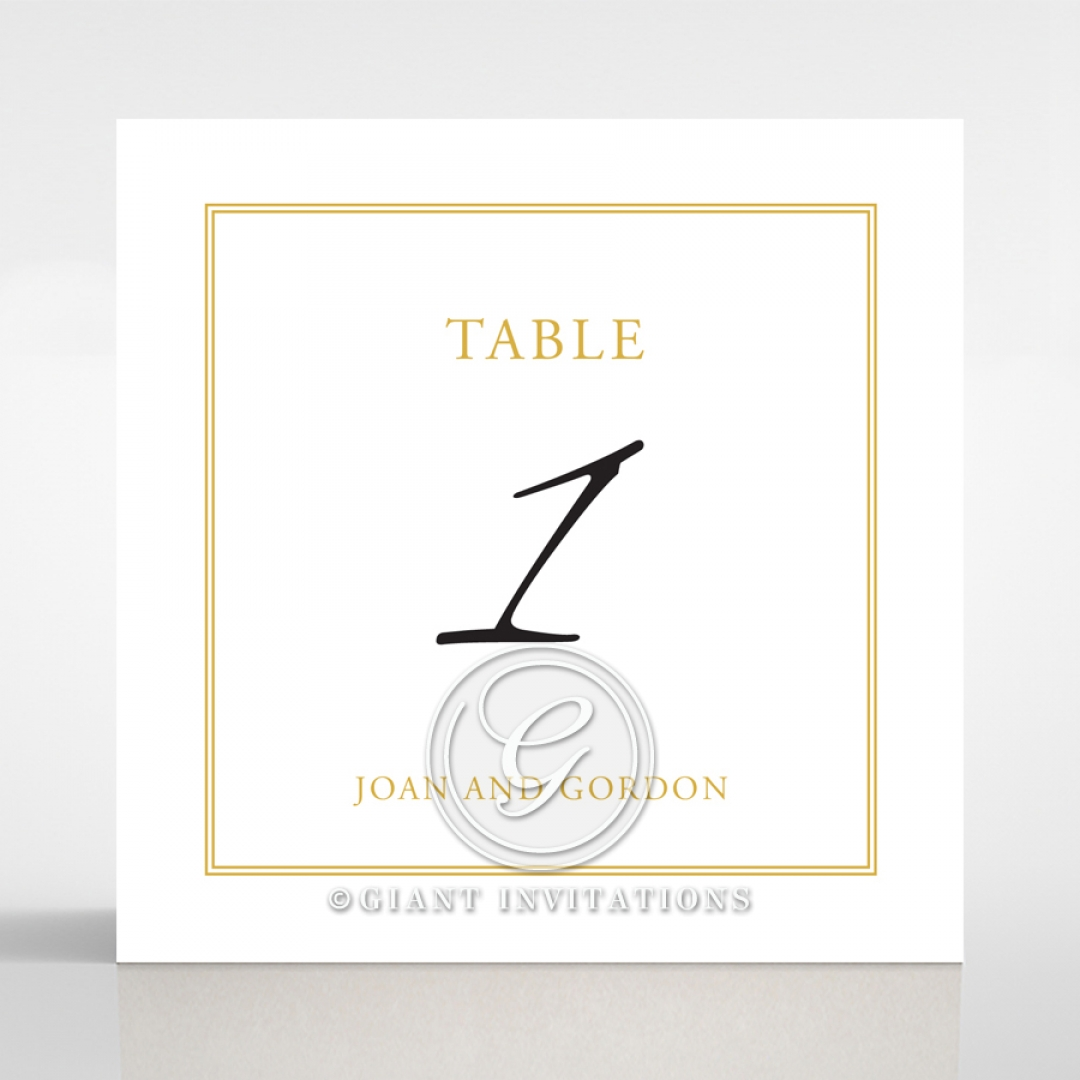 Diamond Drapery reception table number card stationery design