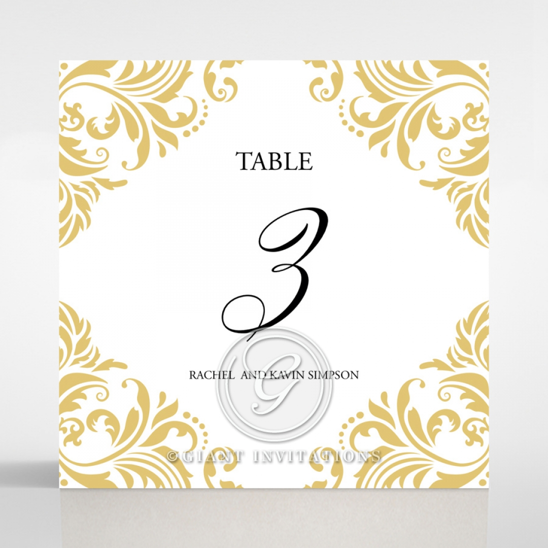Victorian Extravagance wedding table number card stationery design