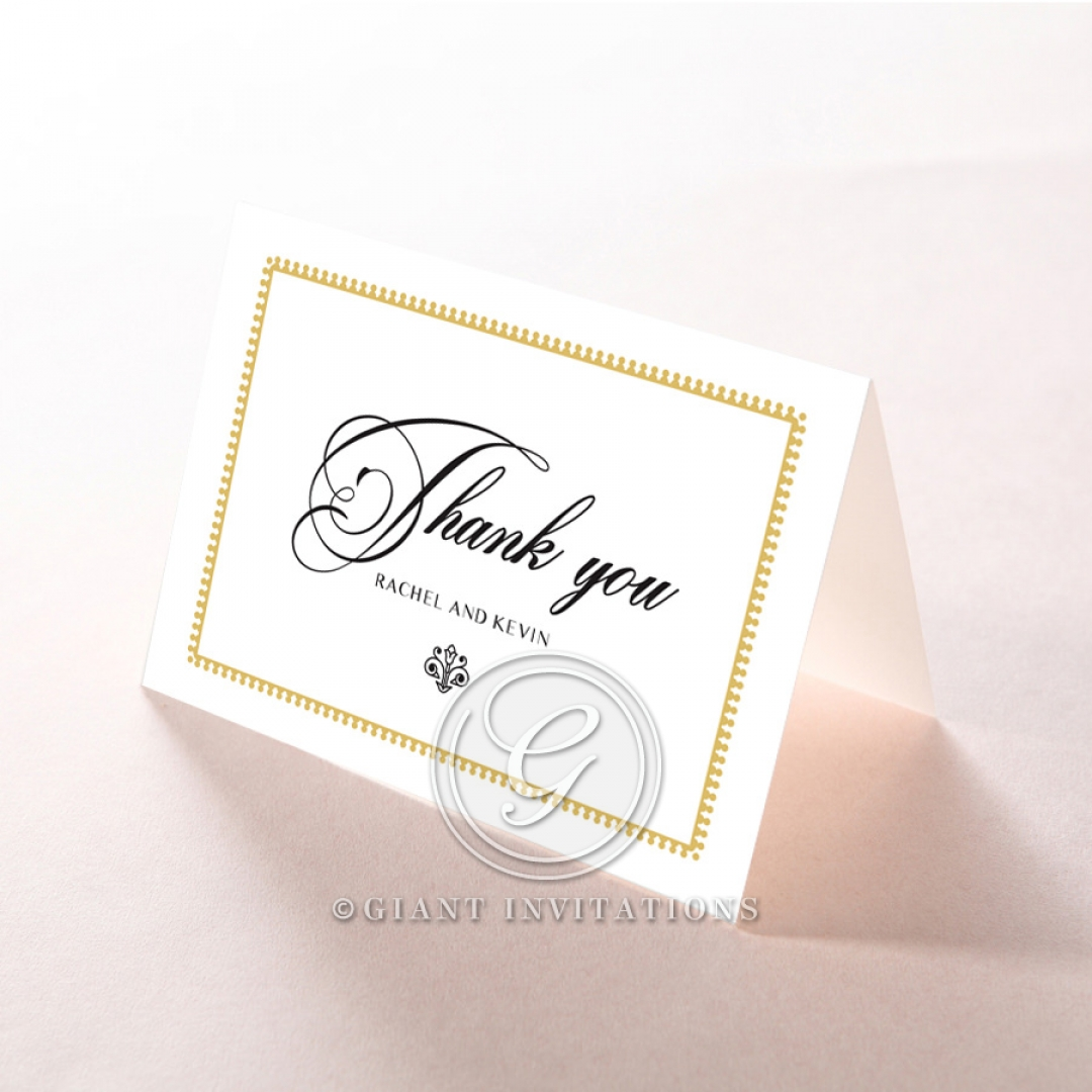 Black Doily Elegance wedding stationery thank you card design