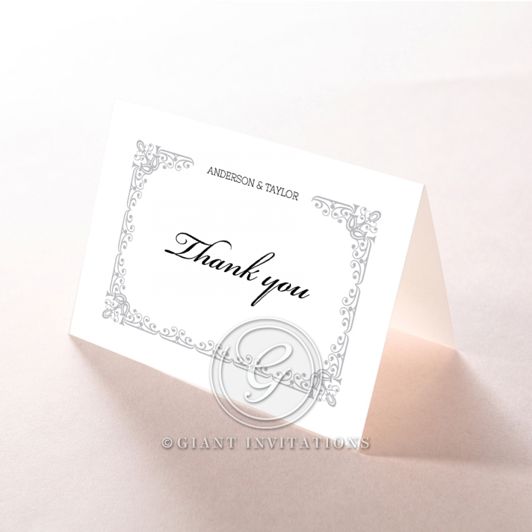 Black on Black Victorian Luxe wedding thank you stationery card design