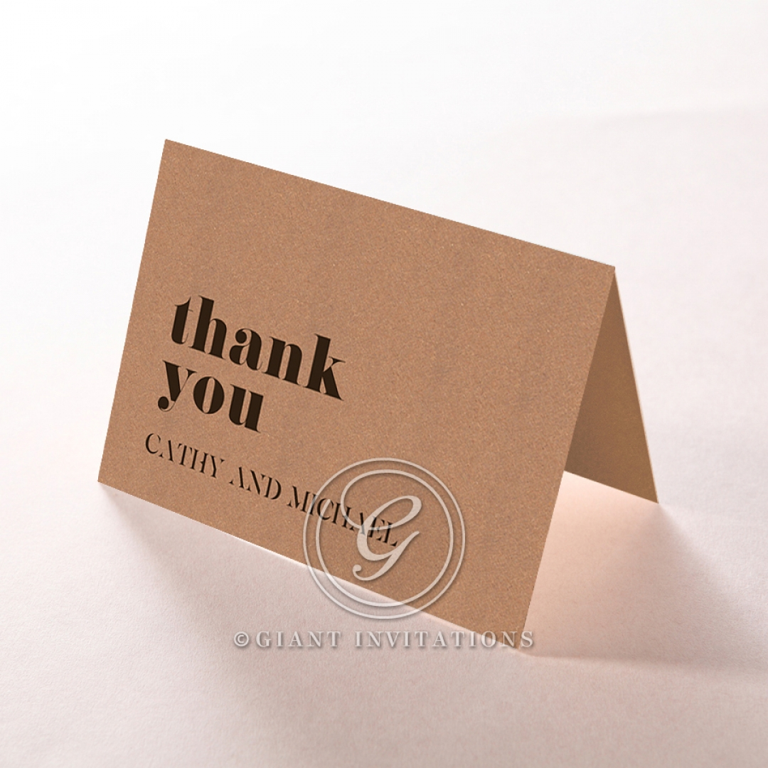 Etched Cork Letter thank you wedding card