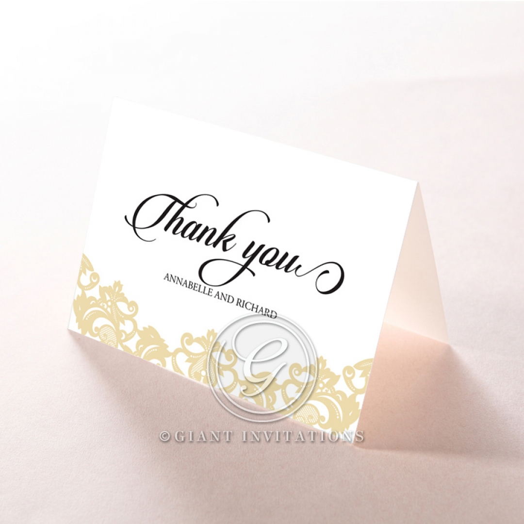 Golden Baroque Pocket thank you invitation card