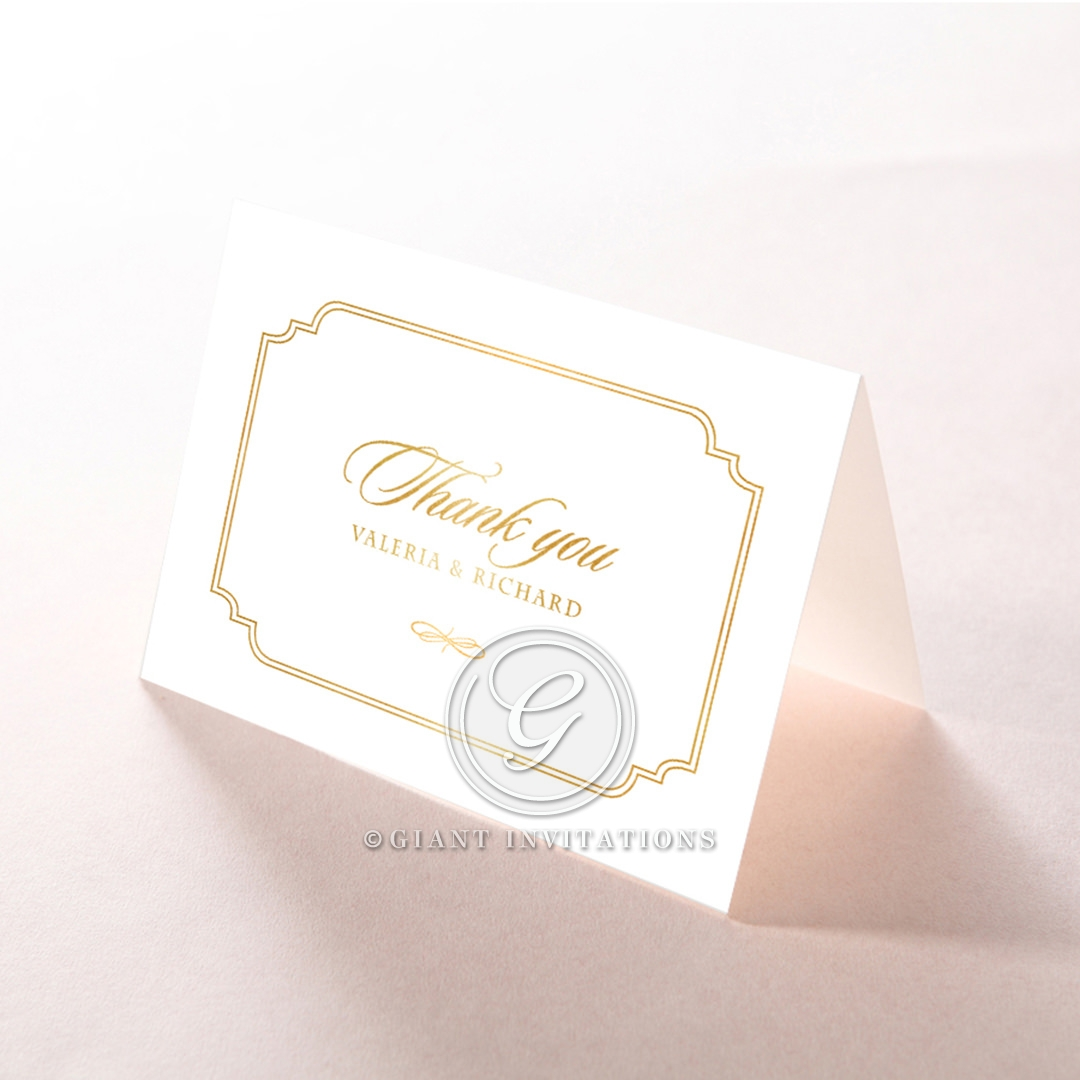 Ivory Victorian Gates with Foil wedding thank you stationery card