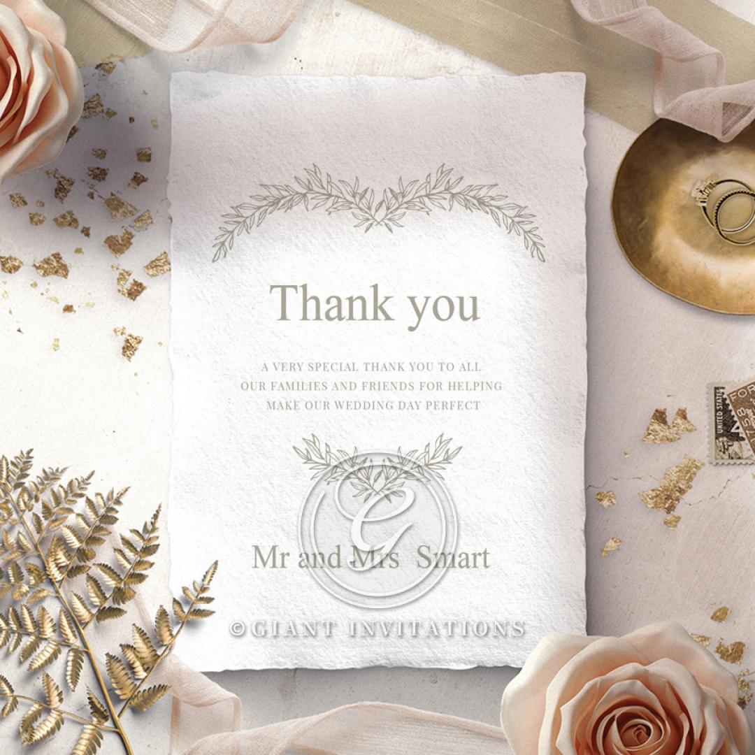 Preppy Wreath wedding stationery thank you card design