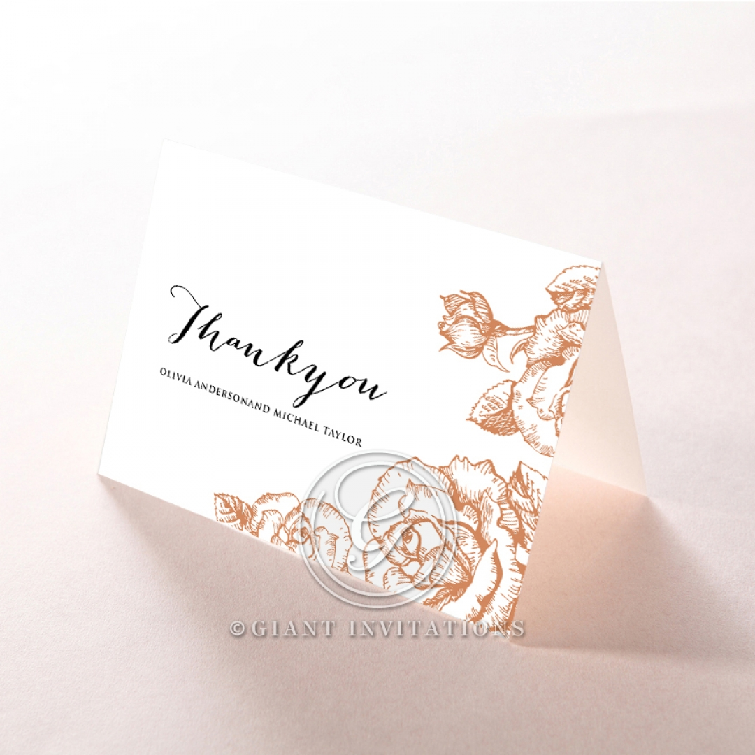 Rose Romance Letterpress wedding thank you card