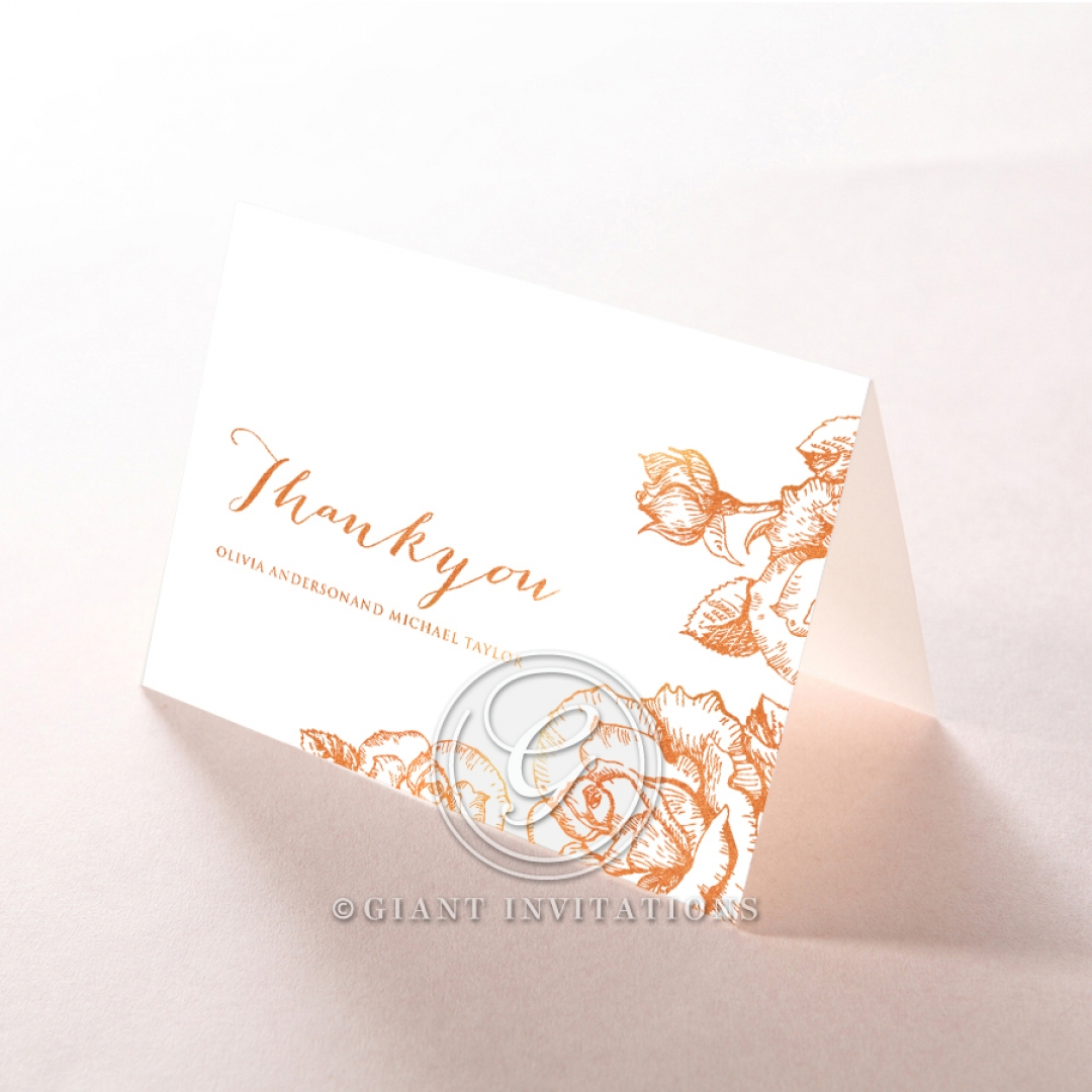 Rose Romance Letterpress with foil thank you card