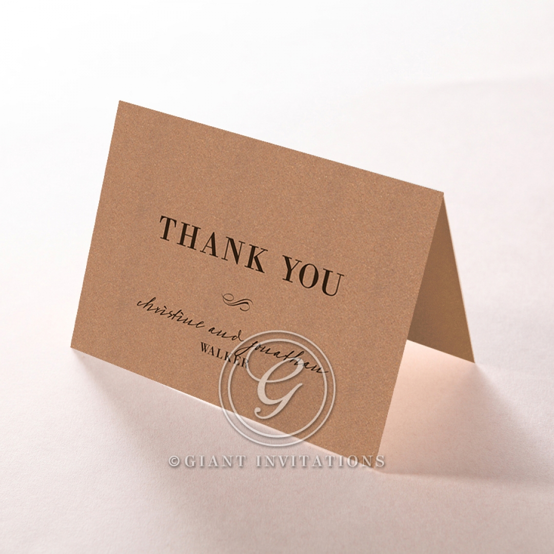 Rustic Love Notes thank you wedding card design