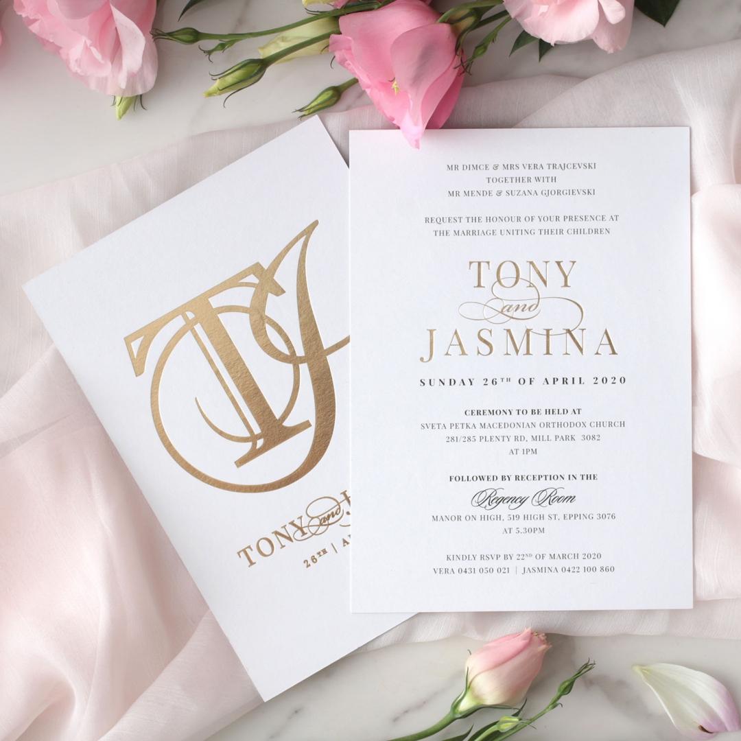Monogram and Foil Triplex Elegance - Wedding Invitations - WP-TP02-MG-01-7641 - 184102