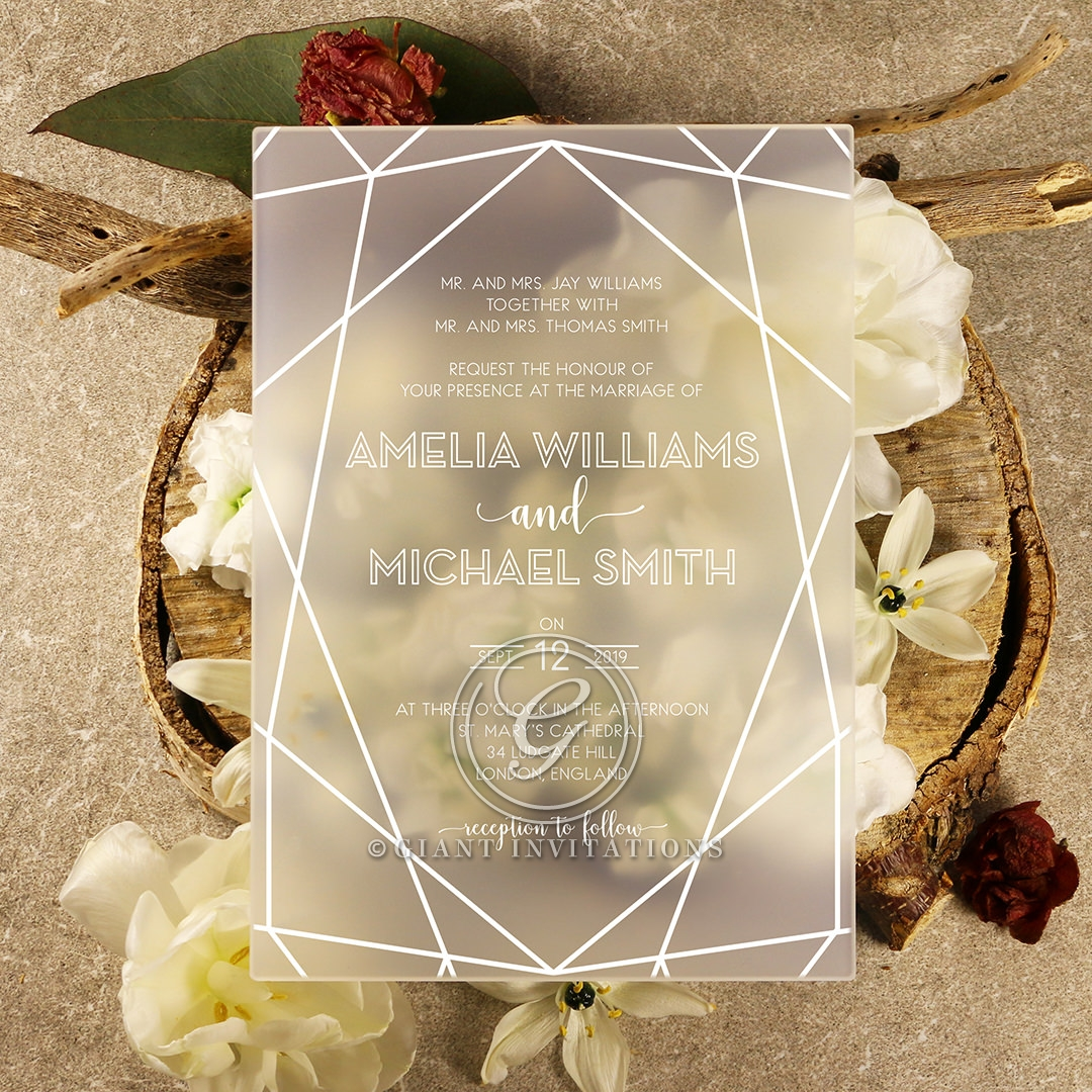 Impressive Modern Art Deco | Frosted Acrylic Wedding Invite