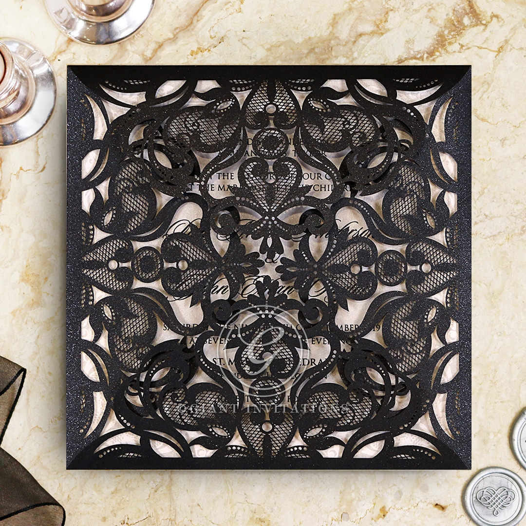 Black Divine Damask Wedding Card