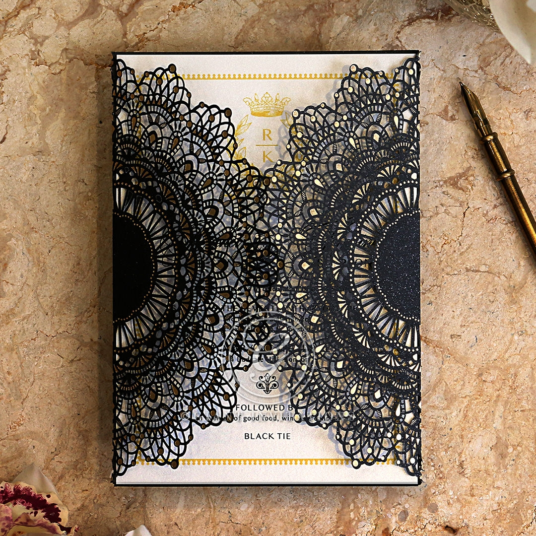 Black Doily Elegance Invitation Design