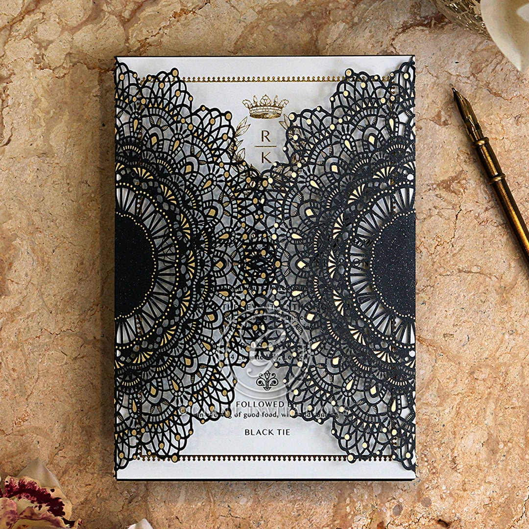 Black Doily Elegance with Foil Invitation Card