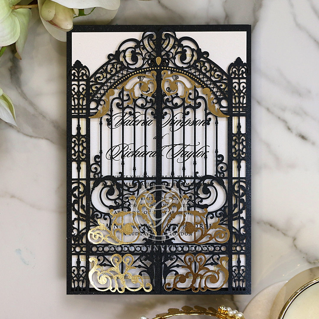 Black Victorian Gates Wedding Card Design