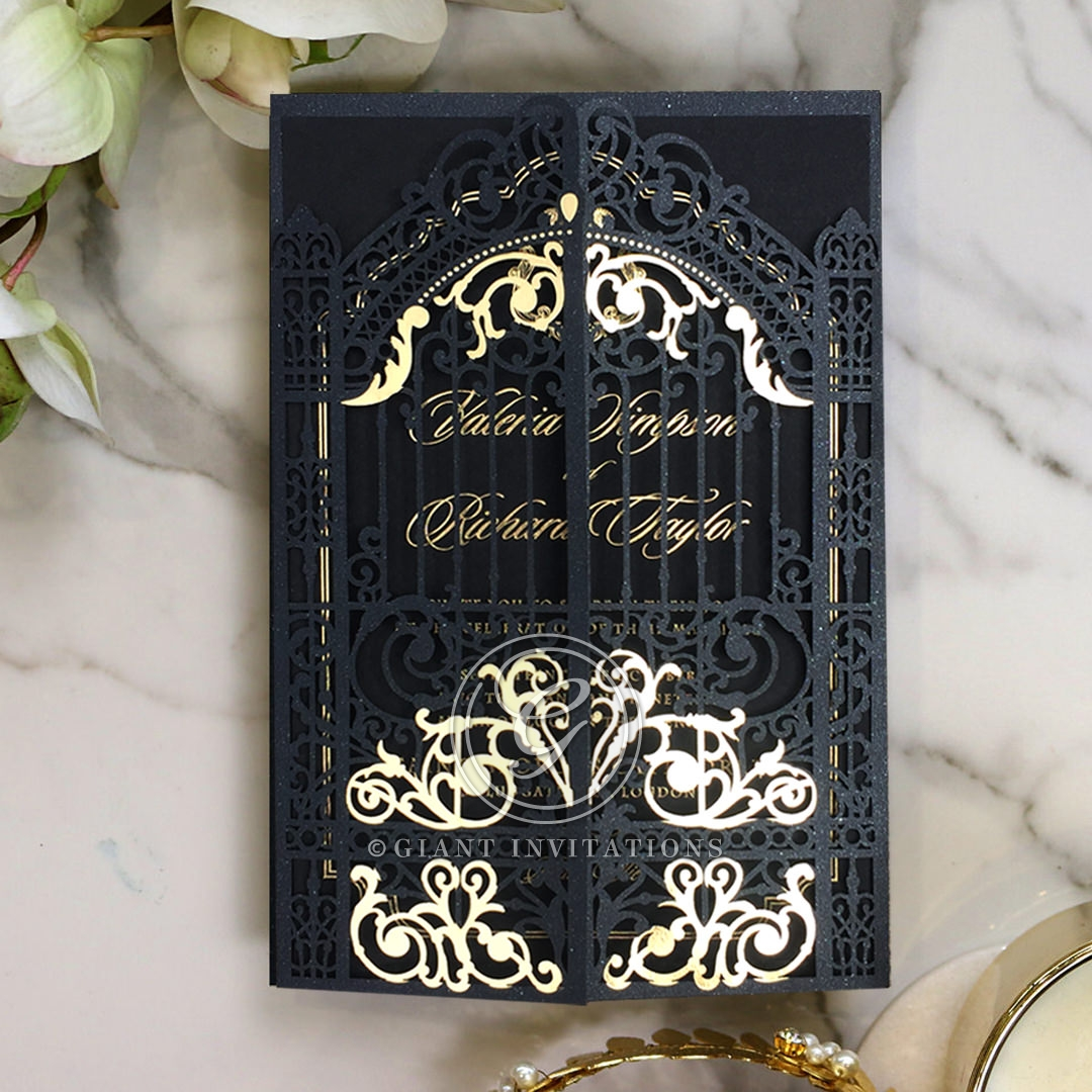 Black Victorian Gates with Foil Wedding Invitation Card