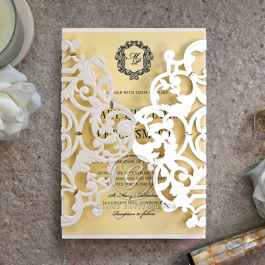 Damask Love Wedding Invitation Card Design