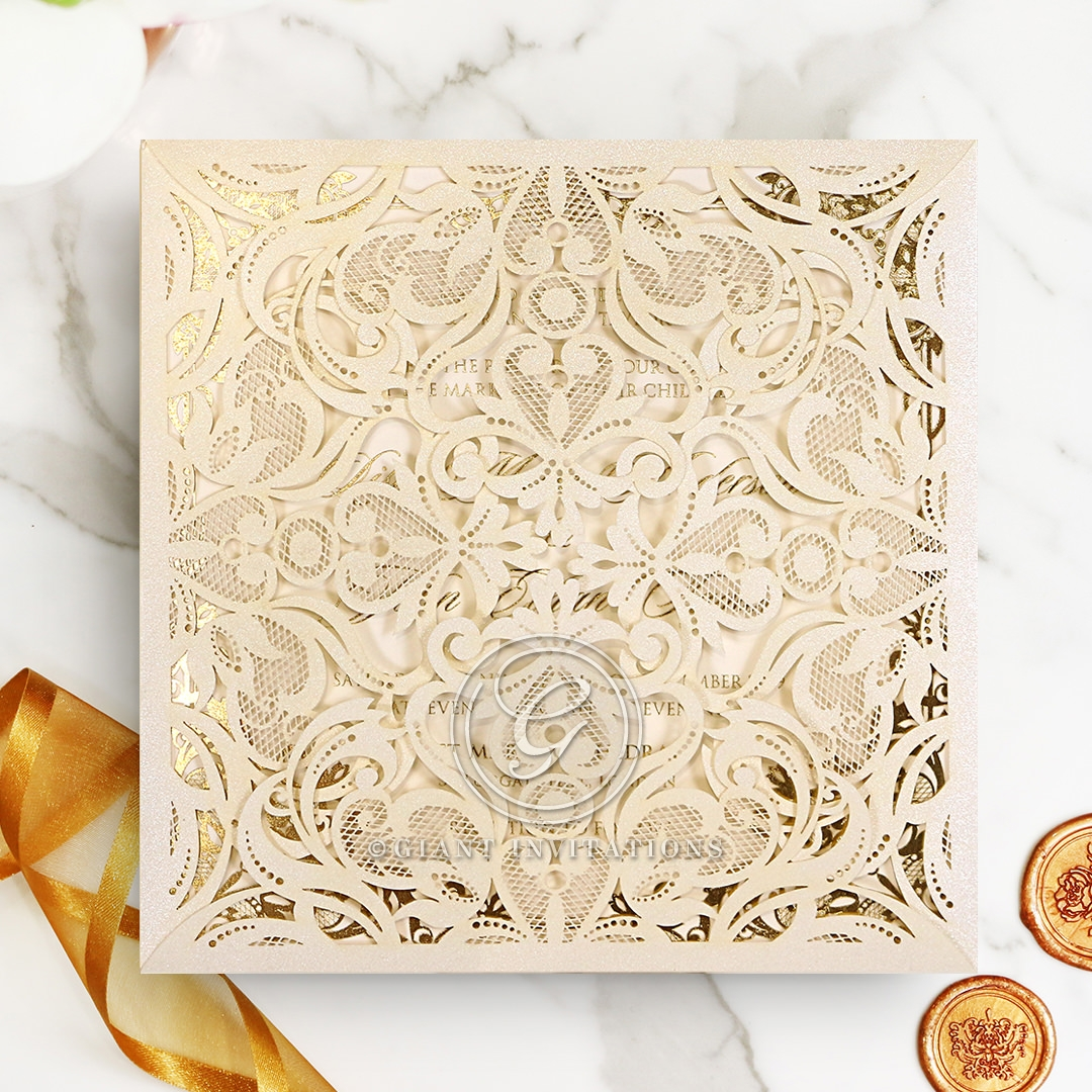 Divine Damask with Foil Invite Card