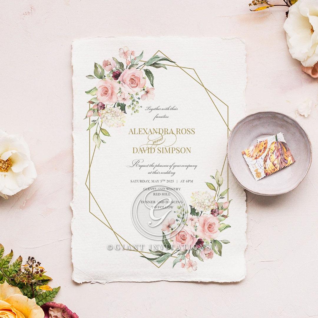 Geometric Bloom Wedding Invite Design