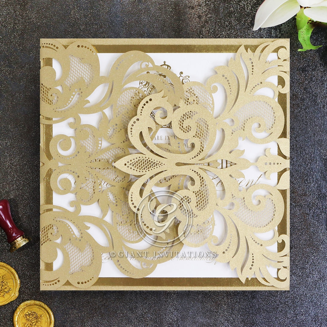 Gold Foil Baroque Gates Card