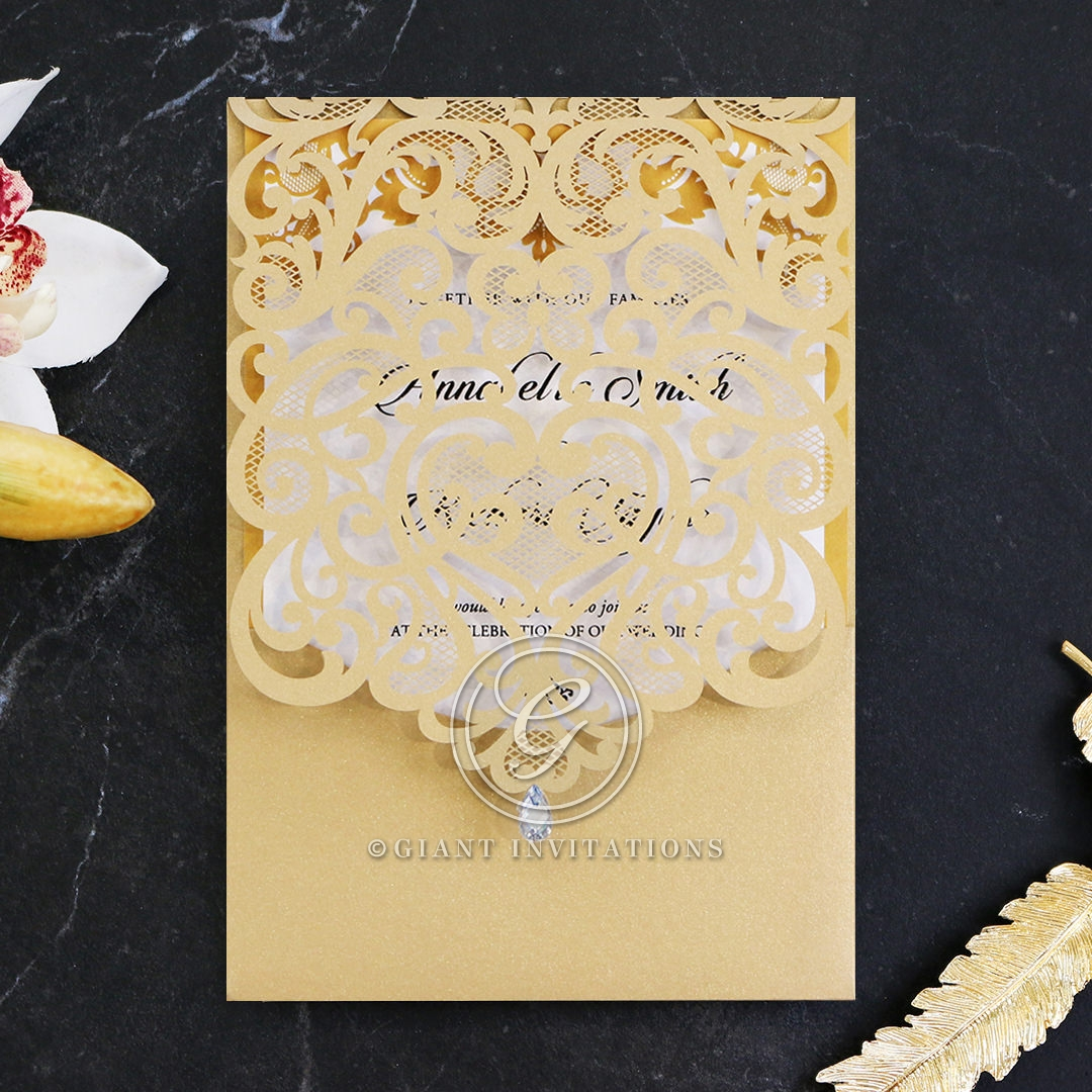 Golden beauty laser cut pocket invitation stylish wedding golden baroque pocket wedding invitation card design stopboris Gallery