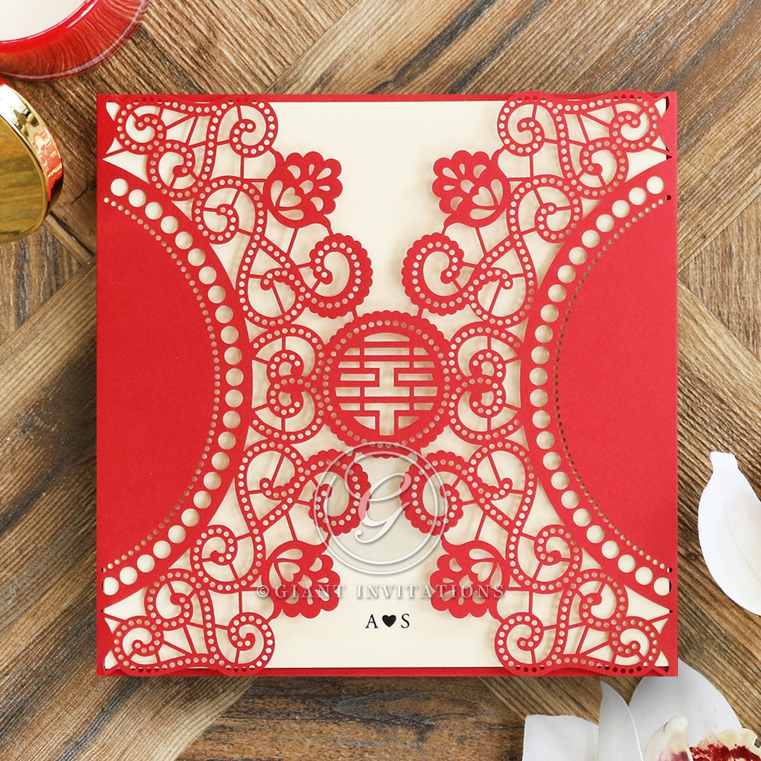 Romantic Chic Red Oriental Laser Cut Pocket Wedding Invite
