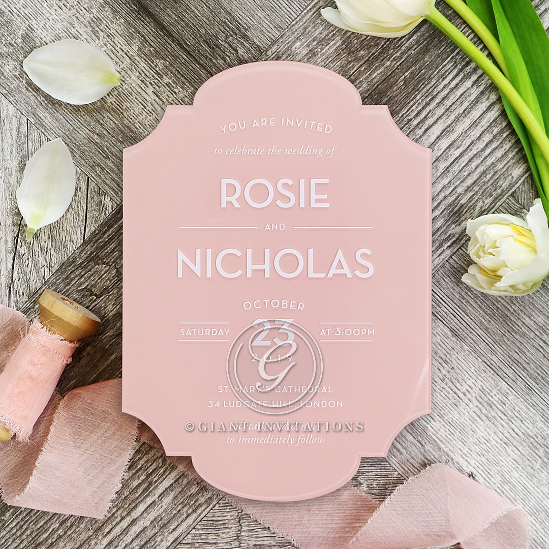 Pink Chic Charm Acrylic Invite Card Design