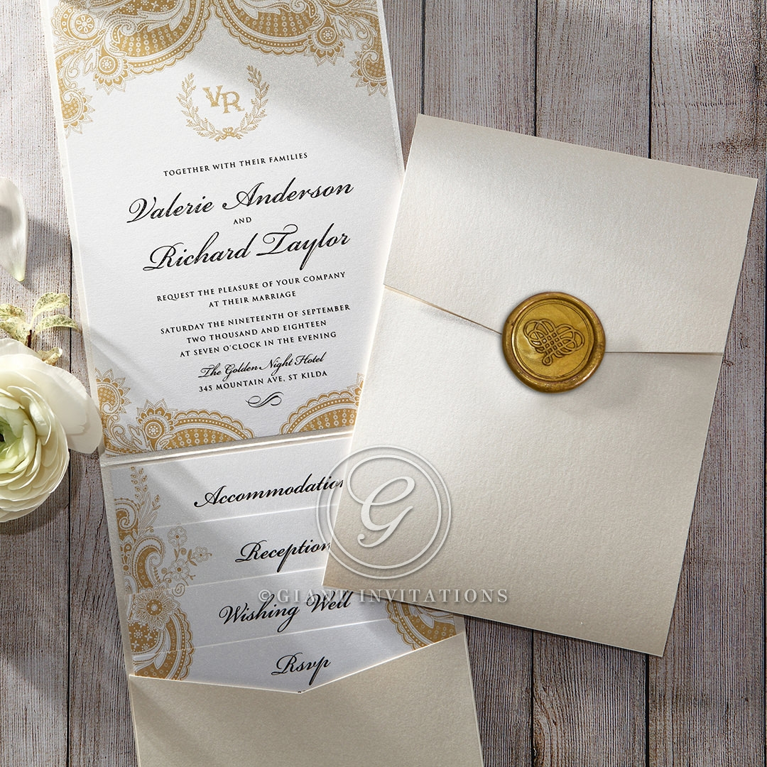 Luxurious pocket fold wedding invitations online prosperous golden pocket wedding invitation stopboris Image collections