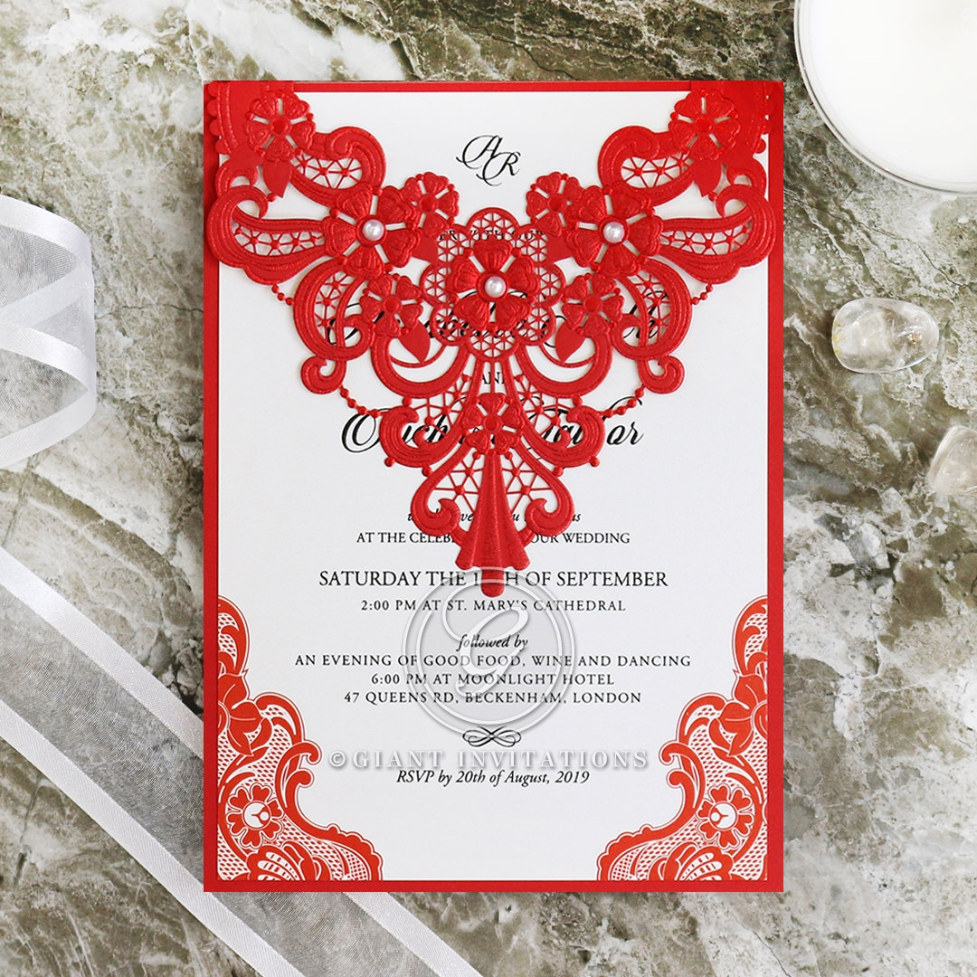Boldly Romantic in Lavish Red | Lacey Pearl Modern Invite