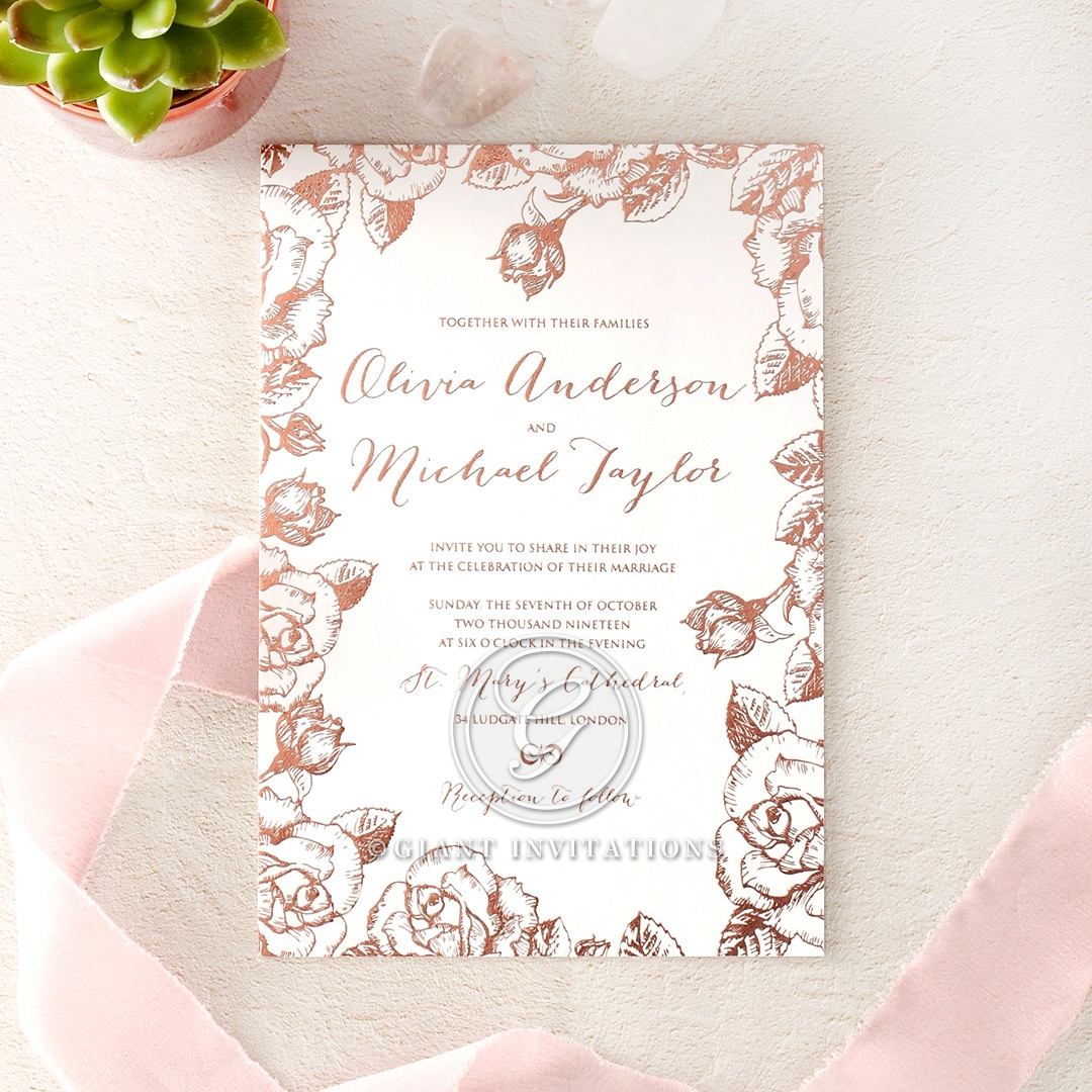 A Charming Rose Filled Wedding Card By Giant Invitations