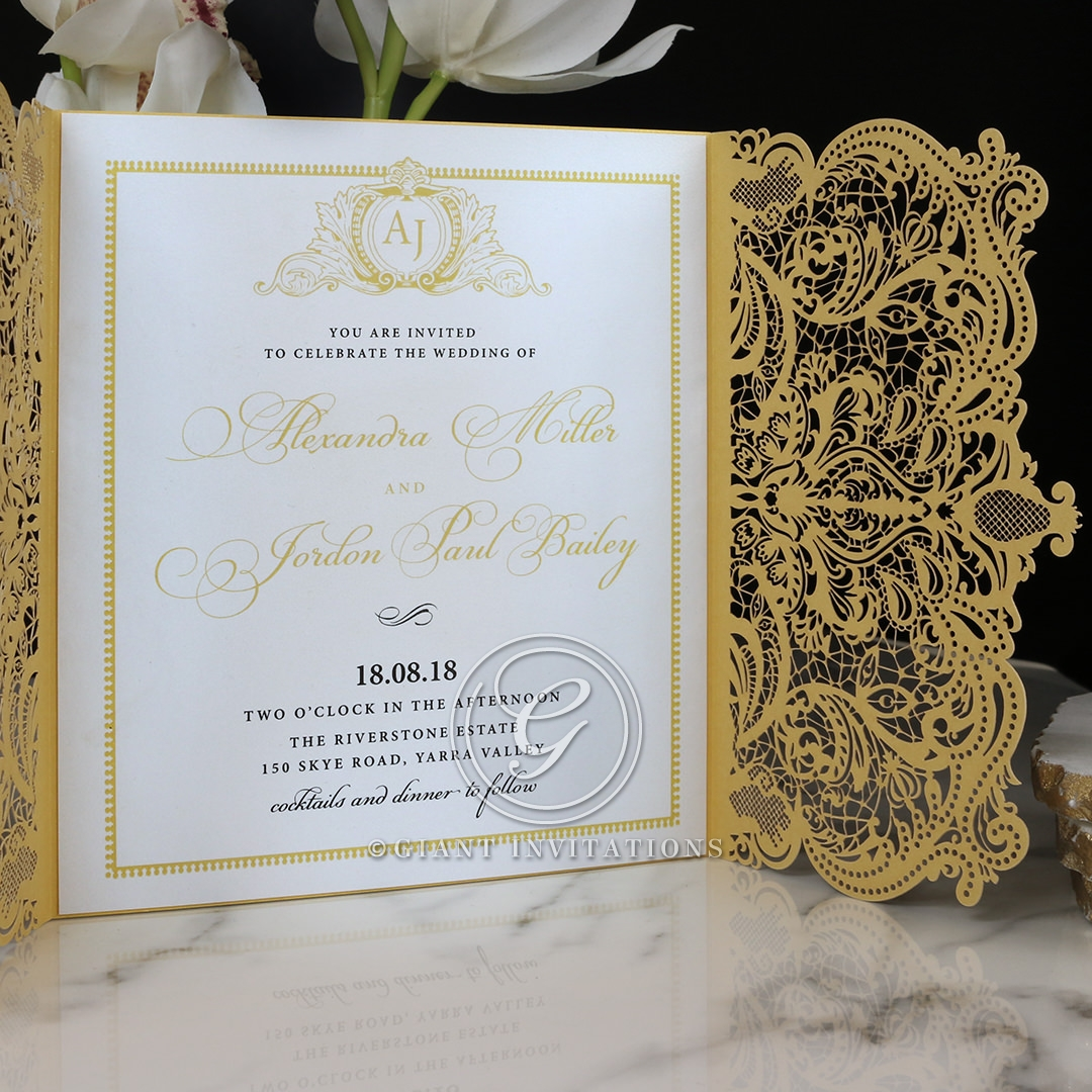 Royal Lace Wedding Invite Card