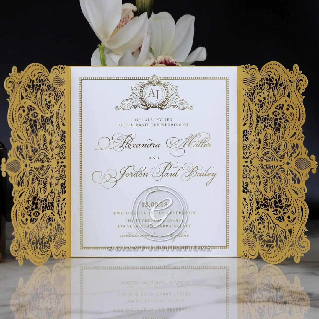 Royal Lace with Foil Wedding Invite