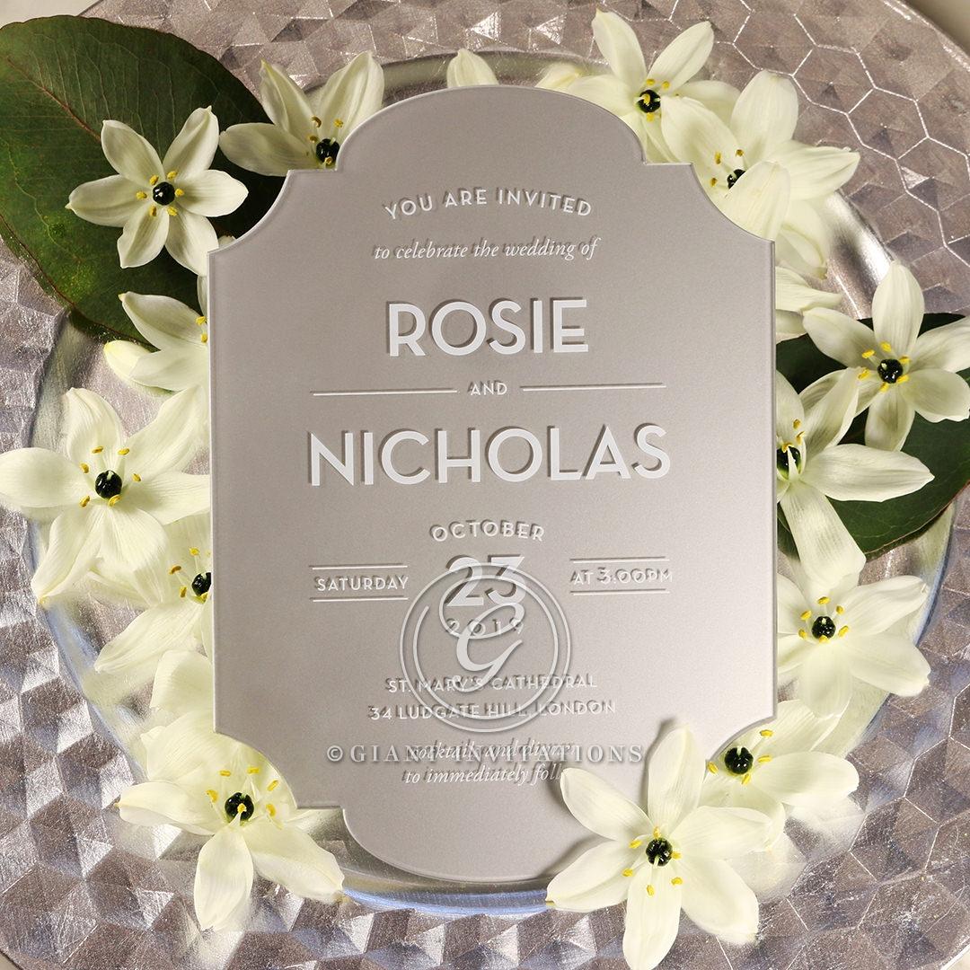 Silver Chic Charm Acrylic Invitation Card Design