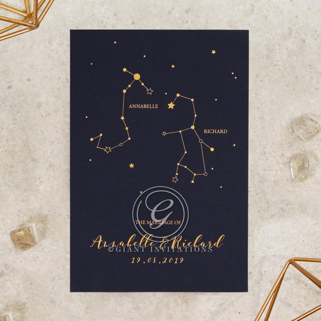 Written In The Stars - Navy Wedding Invite Card Design