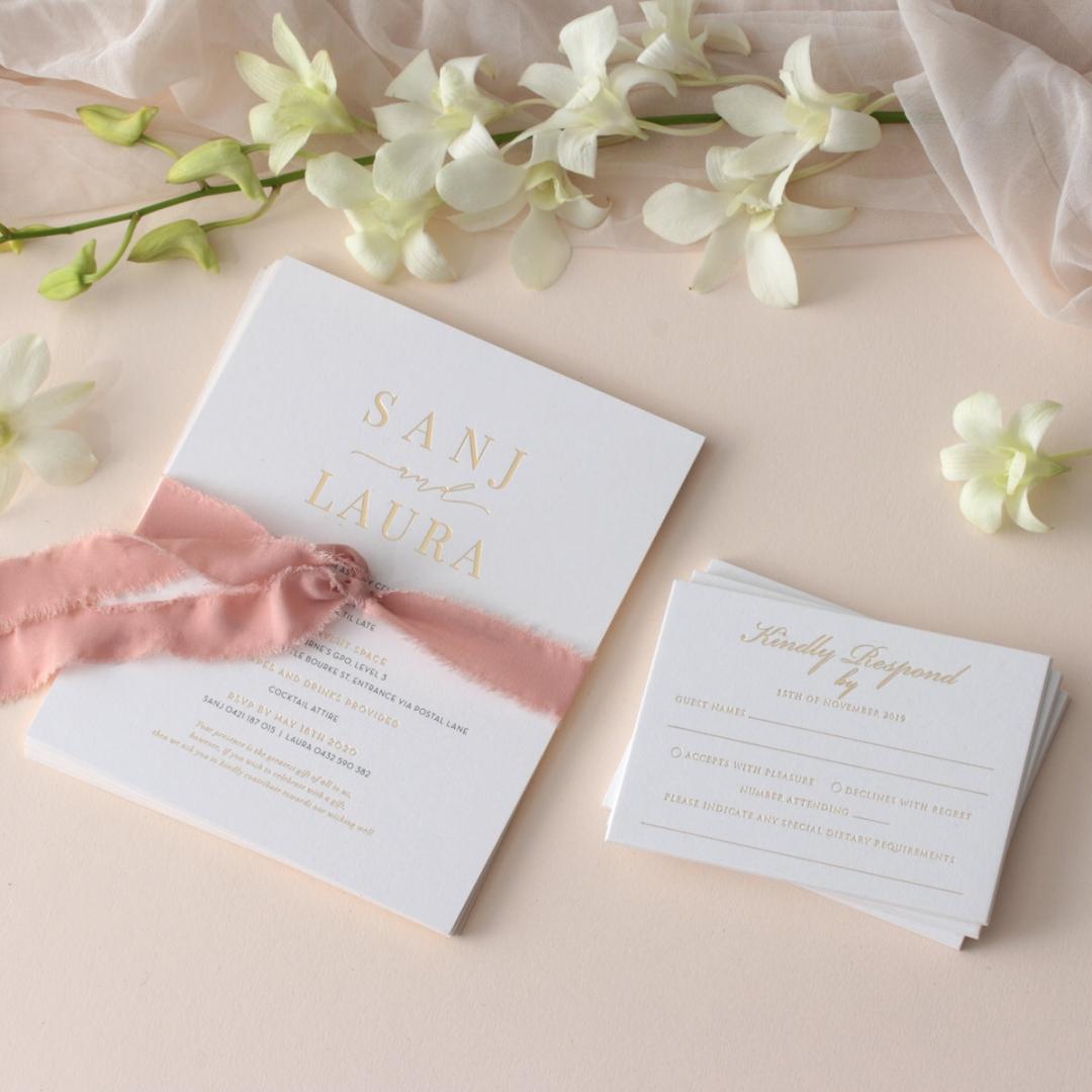 Trendy Foil Stamped Triplex - Wedding Invitations - WP-TP02-MG-02-P - 184188