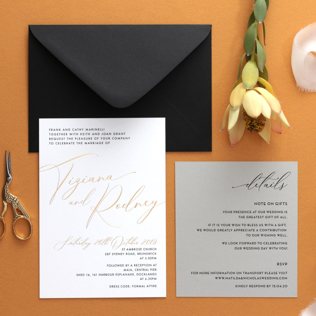 Black and Gold Foiled Triplex - Wedding Invitations - WP-TP01-GG-01 - 184333