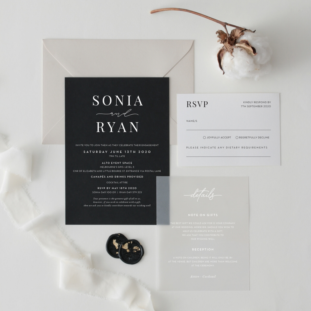 Sophisticated Monochrome - Wedding Invitations - GI-MB300-WH-02 - 184137