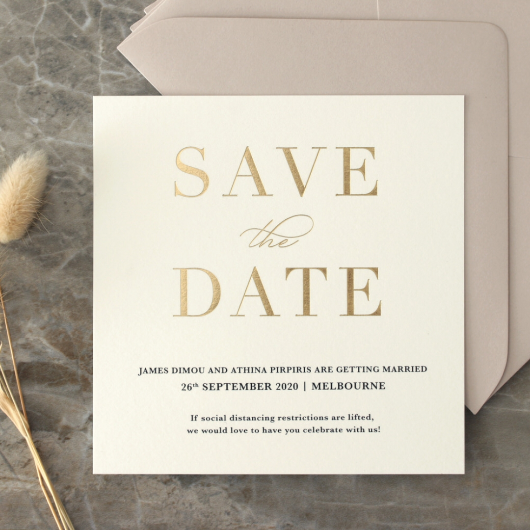 Foil Stamped Save the Date on Blush and White - Wedding Invitations - WP-CR14-SD-GG - 184227
