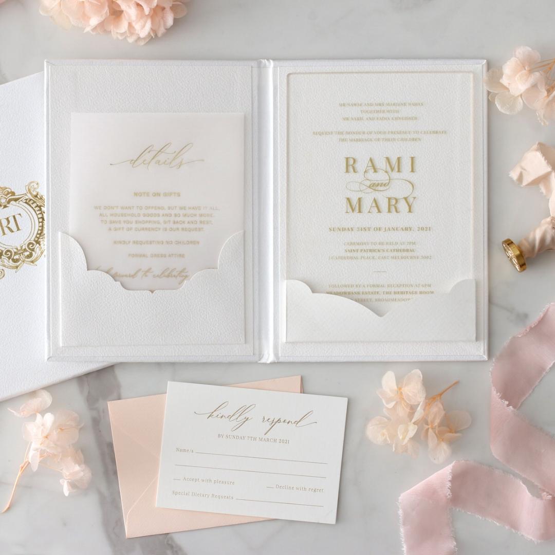 Hardcover Acrylic Pocket - Wedding Invitations - HC-GOLD-CL-1 - 185304
