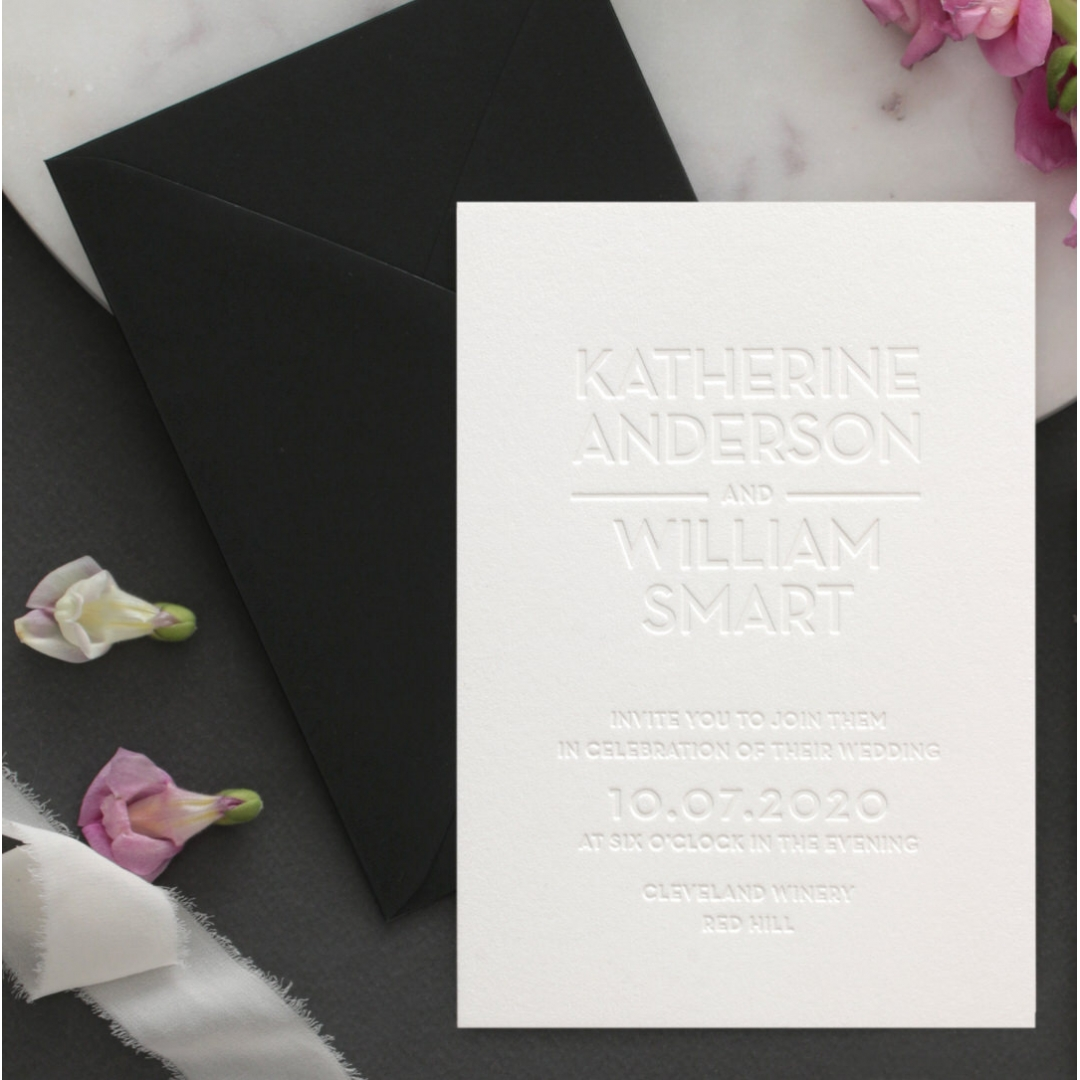 White on White Blind Letterpress - Wedding Invitations - WPBD-01 - 183927
