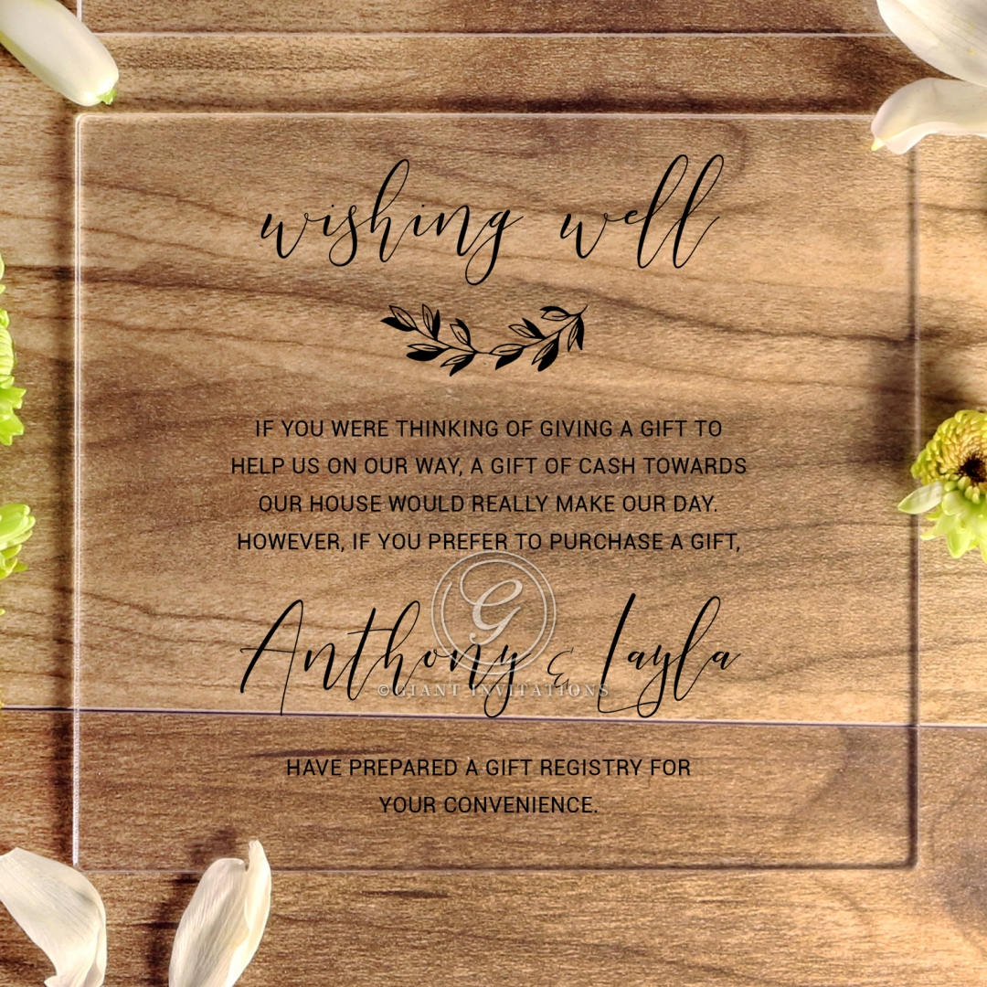 Acrylic Chic Rustic gift registry stationery invite