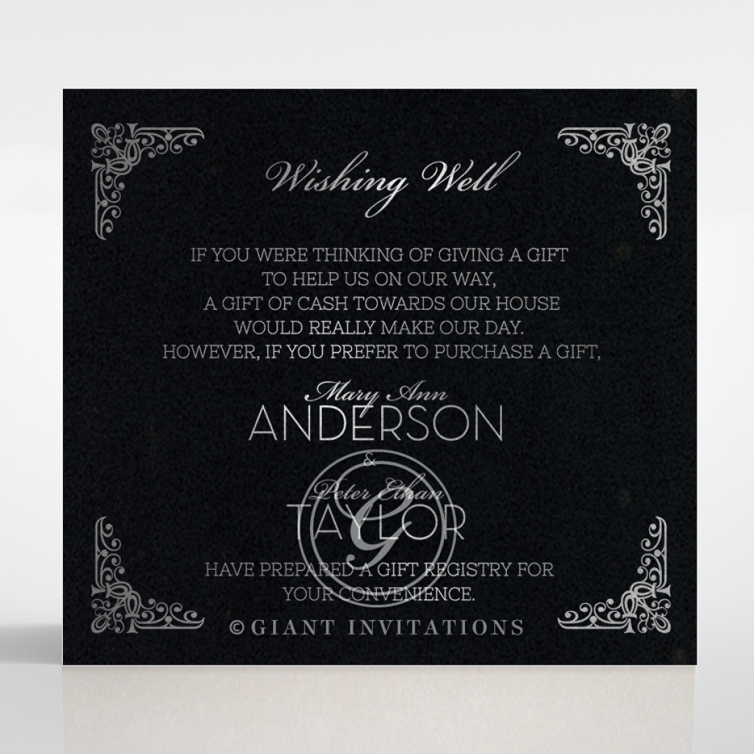 Black on Black Victorian Luxe with foil gift registry invitation card design
