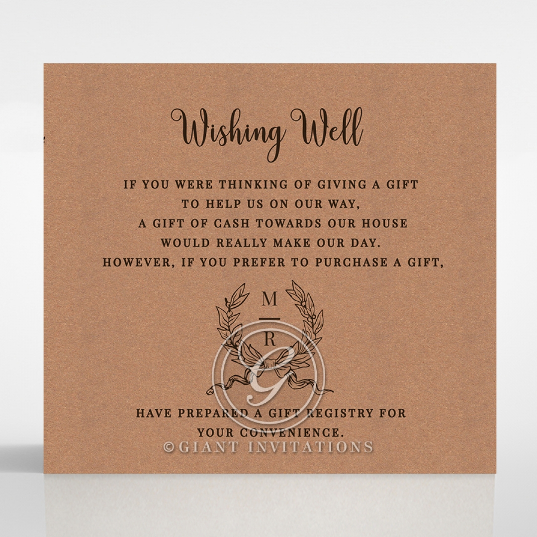 Chic Country Passion wishing well enclosure invite card design