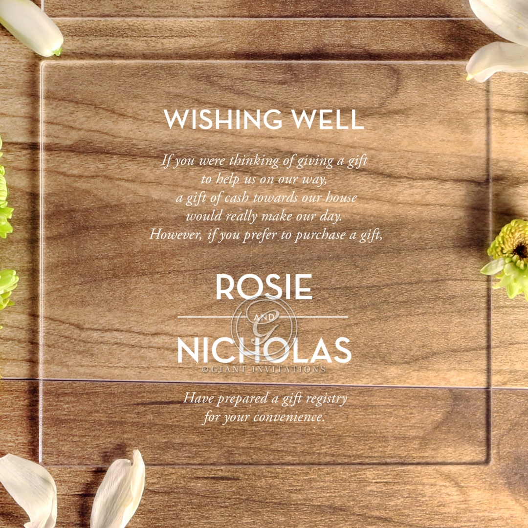 Clear Chic Charm Acrylic gift registry wedding invite card