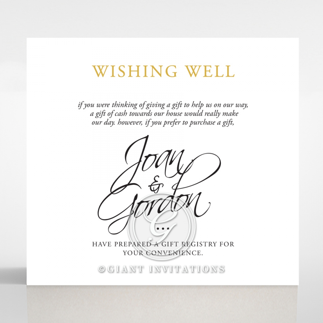 Diamond Drapery wedding wishing well invite card