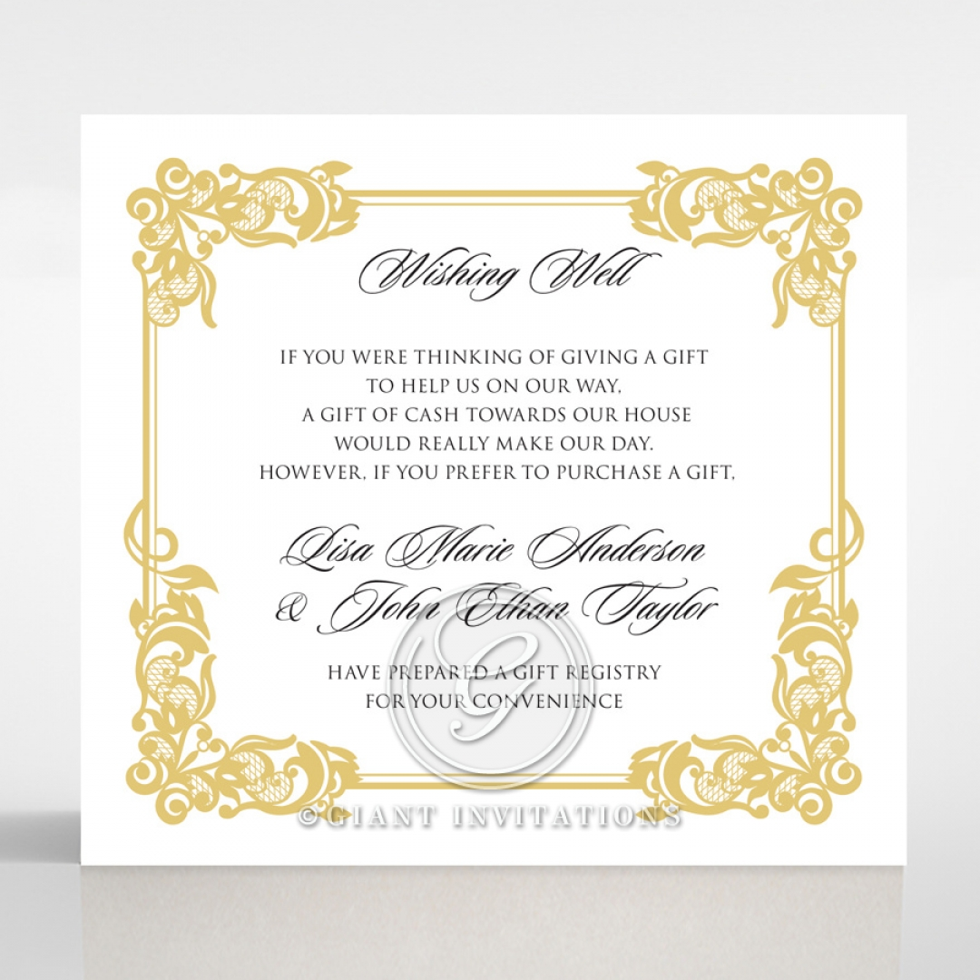 Divine Damask wedding stationery wishing well invite