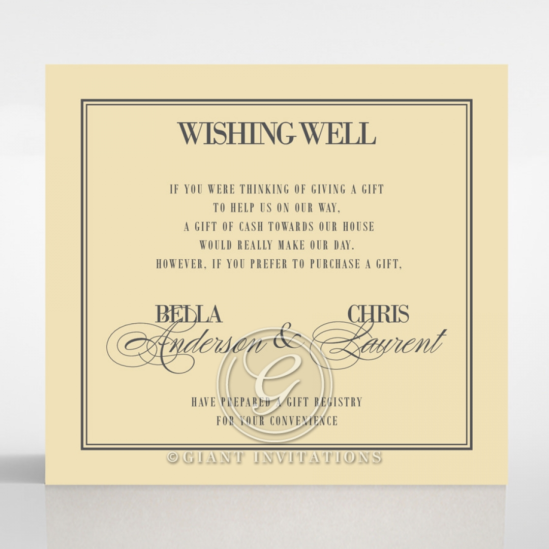 Golden Baroque Gates wedding stationery wishing well enclosure invite card