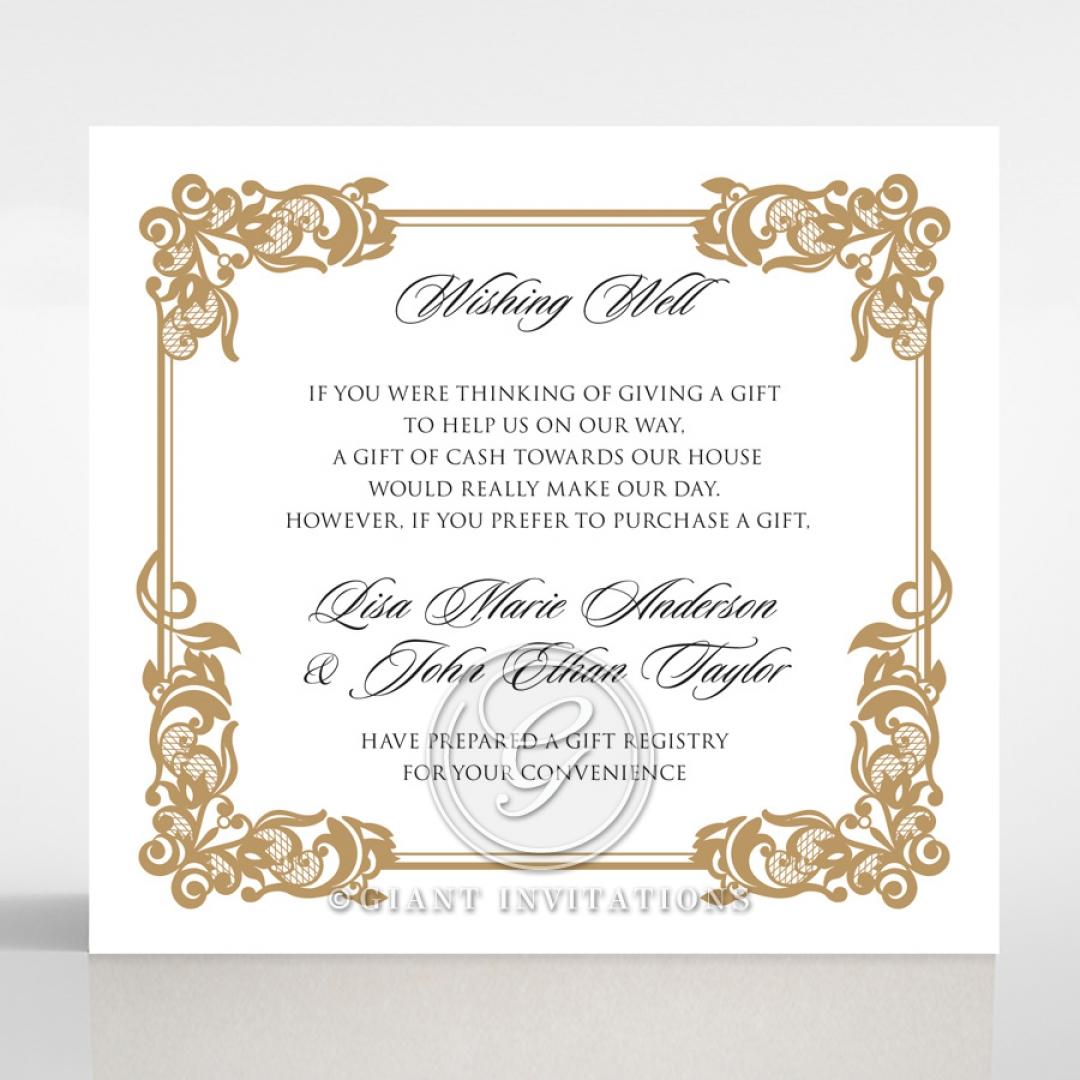 Golden Divine Damask wedding stationery wishing well invite card design